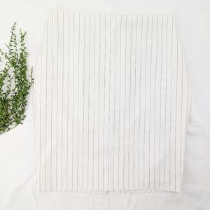 Express White Pinstriped Pencil Skirt